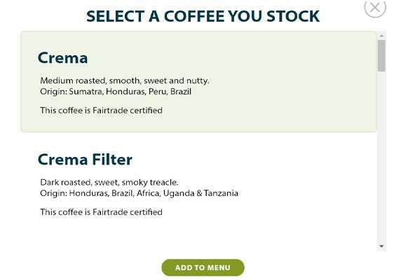 Menu builder - choose coffee