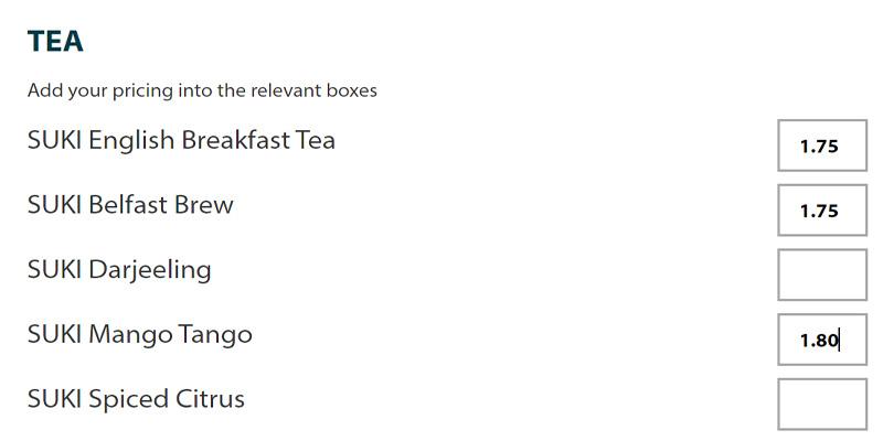 Menu builder - teas
